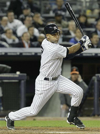 "<div class=""meta ""><span class=""caption-text "">New York Yankees' Derek Jeter follows through on a double during the sixth inning of Game 4 of the American League division baseball series against the Baltimore Orioles, Thursday, Oct. 11, 2012, in New York. (AP Photo/Kathy Willens) (AP Photo/ Kathy Willens)</span></div>"