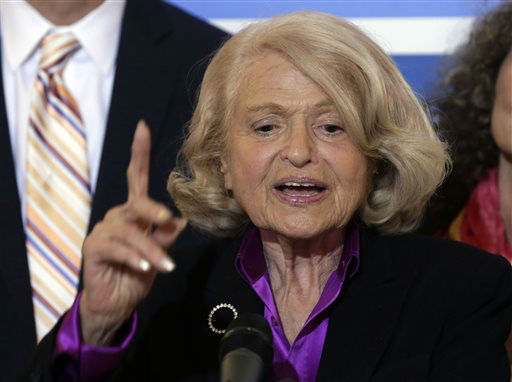 "<div class=""meta image-caption""><div class=""origin-logo origin-image ""><span></span></div><span class=""caption-text"">Edith Windsor answers a question during a news conference at the LGBT Center, in New York,  Wednesday, June 26, 2013.  In a major victory for gay rights, the Supreme Court on Wednesday struck down a provision of a federal law denying federal benefits to married gay couples and cleared the way for the resumption of same-sex marriage in California. (AP Photo/Richard Drew) (AP Photo/ Richard Drew)</span></div>"