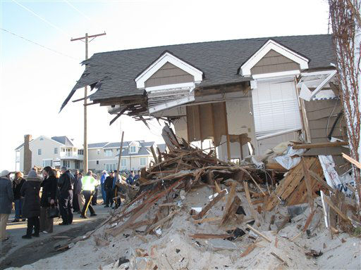 In this Nov. 29, 2012 photo, a house that was severely-damaged from Superstorm Sandy sits in ruins in Mantoloking N.J. Homes like this will have to be demolished and hauled away in 2013. Such demolition projects are only part of the massive cleanup tasks facing the Jersey Shore as it recovers from Sandy. &#40;AP Photo&#47;Wayne Parry&#41; <span class=meta>(AP Photo&#47; Wayne Parry)</span>