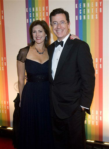 Comedian Stephen Colbert and wife, Evelyn Colbert, arrive at the Kennedy Center for the Performing Arts for the 2012 Kennedy Center Honors Performance and Gala Sunday, Dec. 2, 2012 at the State Department in Washington. &#40;AP Photo&#47;Kevin Wolf&#41; <span class=meta>(AP Photo&#47; Kevin Wolf)</span>