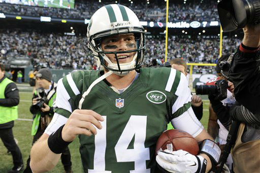 New York Jets quarterback Greg McElroy holds a football after an NFL football game against the Arizona Cardinals, Sunday, Dec. 2, 2012, in East Rutherford, N.J. The Jets won 7-6. &#40;AP Photo&#47;Bill Kostroun&#41; <span class=meta>(AP Photo&#47; Bill Kostroun)</span>
