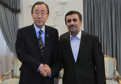 In this photo released by the official website of the Iranian Presidency Office, Iranian President Mahmoud Ahmadinejad, right, shakes hands with U.N. Secretary-General Ban Ki-Moon, at the start of their meeting in Tehran, Iran, Wednesday, Aug. 29, 2012. &#40;AP Photo&#47;Presidency Office, Mohsen Rafinejad&#41; <span class=meta>(AP Photo&#47; Mohsen Rafinejad)</span>