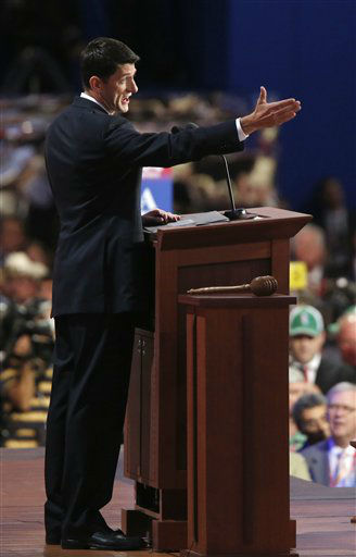 "<div class=""meta ""><span class=""caption-text "">Republican vice presidential nominee, Rep. Paul Ryan addresses the Republican National Convention in Tampa, Fla., on Wednesday, Aug. 29, 2012. (AP Photo/Jae C. Hong) (AP Photo/ Jae C. Hong)</span></div>"