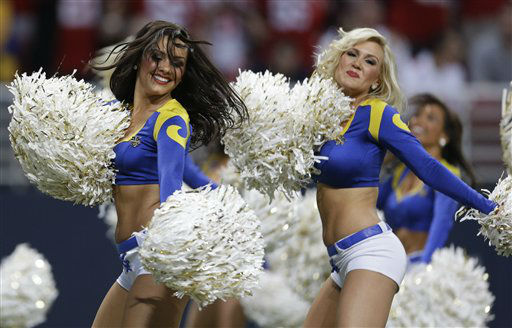 "<div class=""meta image-caption""><div class=""origin-logo origin-image ""><span></span></div><span class=""caption-text"">St. Louis Rams cheerleaders perform during the second half of an NFL football game between the St. Louis Rams and the San Francisco 49ers Sunday, Dec. 2, 2012, in St. Louis. (AP Photo/Jeff Roberson) (AP Photo/ Jeff Roberson)</span></div>"