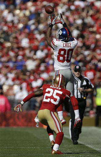 New York Giants wide receiver Victor Cruz &#40;80&#41; catches a pass over San Francisco 49ers cornerback Tarell Brown &#40;25&#41; during the first half of an NFL football game in San Francisco, Sunday, Oct. 14, 2012. &#40;AP Photo&#47;Marcio Jose Sanchez&#41; <span class=meta>(AP Photo&#47; Marcio Jose Sanchez)</span>