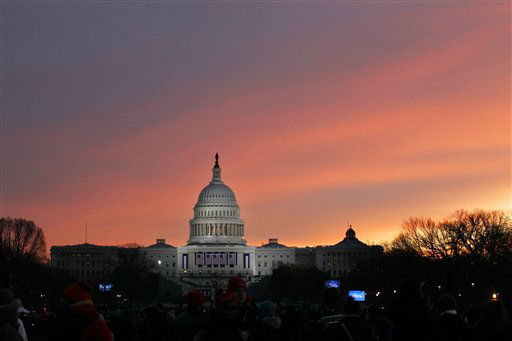 "<div class=""meta image-caption""><div class=""origin-logo origin-image ""><span></span></div><span class=""caption-text"">The sun rises over Capitol Hill in Washington, Monday, Jan. 21,  2013, before the start of President Barack Obama's ceremonial swearing-in ceremony during the 57th Presidential Inauguration. (AP Photo/Jose Luis Magana) (AP Photo/ Jose Luis Magana)</span></div>"