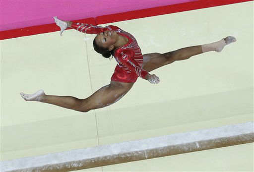 U.S. gymnast Gabrielle Douglas performs on the balance beam during the Artistic Gymnastic women&#39;s team final at the 2012 Summer Olympics, Tuesday, July 31, 2012, in London. &#40;AP Photo&#47;Julie Jacobson&#41; <span class=meta>(AP Photo&#47; Julie Jacobson)</span>
