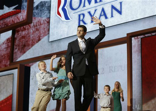 Republican vice presidential nominee, Rep. Paul Ryan waves as his family, from left, Charlie, Liza, Sam and wife Janna run up to him after his acceptance speech during the Republican National Convention in Tampa, Fla., on Wednesday, Aug. 29, 2012. &#40;AP Photo&#47;Charles Dharapak&#41; <span class=meta>(AP Photo&#47; Charles Dharapak)</span>
