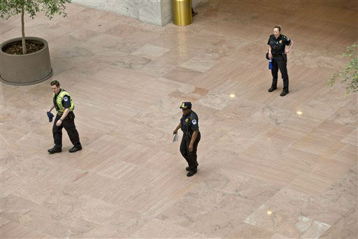 "<div class=""meta ""><span class=""caption-text "">U.S. Capitol Police order people to leave the lobby of the Senate Hart Office Building on Capitol Hill in Washington, Wednesday, April 17, 2013, as a suspicious item is investigated. U.S. Capitol police are investigating the discovery of at least two suspicious envelopes in Senate office buildings across the street from the Capitol.   (AP Photo/J. Scott Applewhite) (AP Photo/ J. Scott Applewhite)</span></div>"