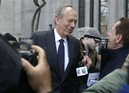 Former New York Governor George Pataki  speaks to media as she arrives for the funeral of former New York City Mayor Ed Koch in New York, Monday, Feb. 4, 2013. Koch was remembered as the quintessential New Yorker during a funeral that frequently elicited laughter, recalling his famous one-liners and amusing antics in the public eye. Koch died Friday of congestive heart failure at age 88. &#40;AP Photo&#47;Seth Wenig&#41; <span class=meta>(AP Photo&#47; Seth Wenig)</span>