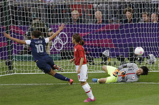 United States&#39; Carli Lloyd &#40;10&#41; celebrates after scoring against Japan goalkeeper Miho Fukumoto &#40;1&#41; during the women&#39;s soccer gold medal match at the 2012 Summer Olympics, Thursday, Aug. 9, 2012, in London. &#40;AP Photo&#47;Andrew Medichini&#41; <span class=meta>(AP Photo&#47; Andrew Medichini)</span>