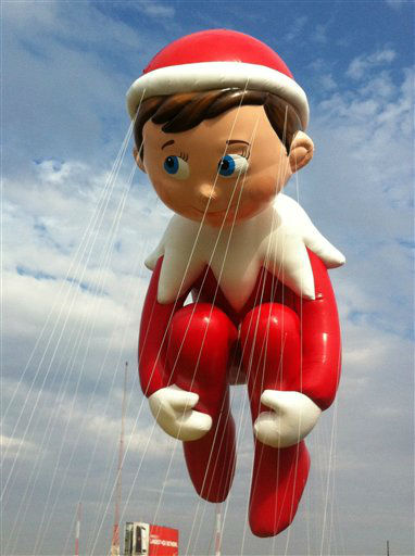 In this photo provided by Macy?s, the ?Elf on the Shelf? balloon floats over the Meadowland?s race track during a test flight Saturday, Nov. 10, 2012, in East Rutherford, N.J. The ?Elf on a Shelf? is one of three new balloons to be featured in the 2012 Macy?s Thanksgiving Parade. &#40;AP Photo&#47;Macy?s, Inc.&#41; <span class=meta>(AP Photo&#47; Uncredited)</span>