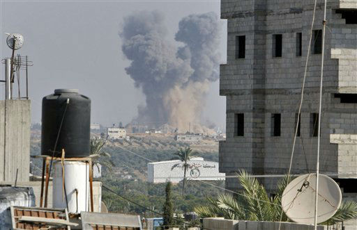 "<div class=""meta ""><span class=""caption-text "">Smoke rises following an Israeli attack east of Gaza City, seen from Bureij refugee camp, central Gaza Strip, Tuesday, Nov. 20, 2012. Efforts to end a week-old convulsion of Israeli-Palestinian violence drew in the world's top diplomats on Tuesday, with President Barack Obama dispatching his secretary of state to the region on an emergency mission and the U.N. chief appealing from Cairo for an immediate cease-fire.(AP Photo/Adel Hana)</span></div>"