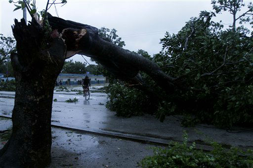 A man rides his bicycle under the arc made by a tree knocked down by Hurricane Sandy in Gibara, Cuba, Thursday, Oct. 25, 2012. Hurricane Sandy blasted across eastern Cuba on Thursday as a potent Category 2 storm and headed for the Bahamas after causing at least two deaths in the Caribbean. &#40;AP Photo&#47;Franklin Reyes&#41; <span class=meta>(AP Photo&#47; Franklin Reyes)</span>