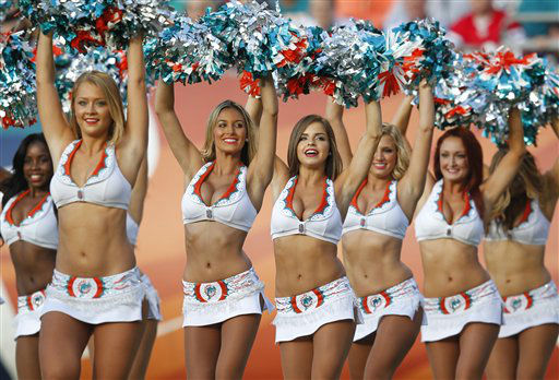 "<div class=""meta ""><span class=""caption-text "">Miami Dolphins Cheerleaders perform during the second half of an NFL football game between the Miami Dolphins and the New England Patriots, Sunday, Dec. 2, 2012 in Miami. (AP Photo/Wilfredo Lee) (AP Photo/ Wilfredo Lee)</span></div>"