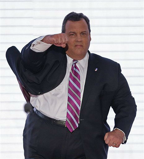 "<div class=""meta ""><span class=""caption-text "">New Jersey Governor Chris Christie walks onto the stage at the Republican National Convention in Tampa, Fla. on Tuesday, Aug. 28, 2012.  (AP J. Scott Applewhite) (AP Photo/ J. David Ake)</span></div>"