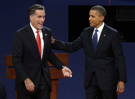 "<div class=""meta ""><span class=""caption-text "">Republican presidential nominee Mitt Romney  and President Barack Obama  laugh after the first presidential debate at the University of Denver, Wednesday, Oct. 3, 2012, in Denver. (AP Photo/Charlie Neibergall) (AP Photo/ Charlie Neibergall)</span></div>"