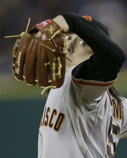 San Francisco Giants&#39; Tim Lincecum throws during the seventh inning of Game 3 of baseball&#39;s World Series against the Detroit Tigers Saturday, Oct. 27, 2012, in Detroit. &#40;AP Photo&#47;Matt Slocum&#41; <span class=meta>(AP Photo&#47; Matt Slocum)</span>