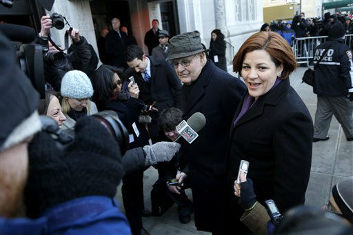 New York City Council Speaker Christine Quinn speaks to media as she arrives for the funeral of former New York City Mayor Ed Koch in New York, Monday, Feb. 4, 2013. Koch was remembered as the quintessential New Yorker during a funeral that frequently elicited laughter, recalling his famous one-liners and amusing antics in the public eye. Koch died Friday of congestive heart failure at age 88. &#40;AP Photo&#47;Seth Wenig&#41; <span class=meta>(AP Photo&#47; Seth Wenig)</span>