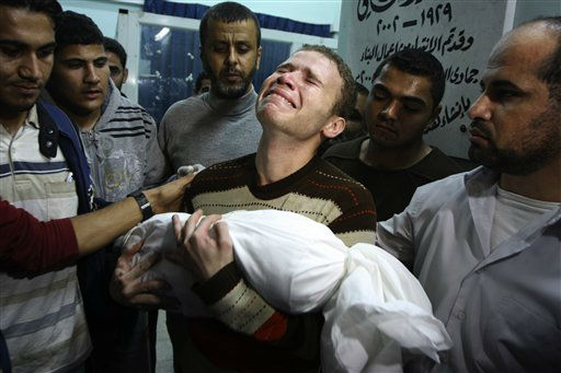 "<div class=""meta image-caption""><div class=""origin-logo origin-image ""><span></span></div><span class=""caption-text"">Jihad Masharawi weeps while he holds the body of his 11-month old son Ahmad, at Shifa hospital following an Israeli air strike on their family house, in Gaza City, Wednesday, Nov. 14, 2012. The Israeli military said its assassination of the Hamas military commander Ahmed Jabari, marks the beginning of an operation against Gaza militants. (AP Photo/Majed Hamdan) (AP Photo/ Majed Hamdan)</span></div>"