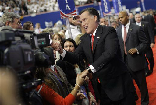 "<div class=""meta ""><span class=""caption-text "">Republican presidential nominee Mitt Romney shakes hands of delegates before speaking at the Republican National Convention in Tampa, Fla., on Thursday, Aug. 30, 2012.  (AP Photo/David Goldman) (AP Photo/ David Goldman)</span></div>"