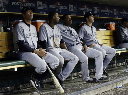 New York Yankees&#39; Alex Rodriguez, left, and teammates sit on the bench in the seventh inning against the Detroit Tigers during Game 4 of the American League championship series Thursday, Oct. 18, 2012, in Detroit. &#40;AP Photo&#47;Paul Sancya &#41; <span class=meta>(AP Photo&#47; Paul Sancya)</span>