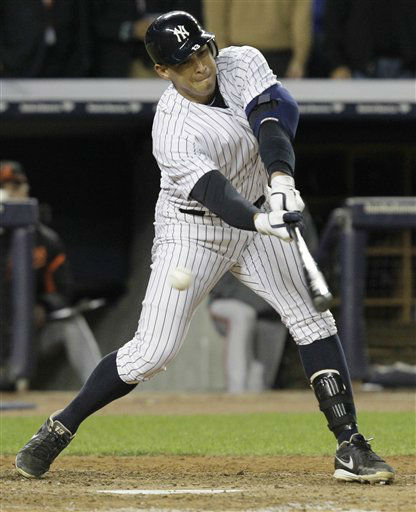 New York Yankees&#39; Alex Rodriguez swings for a strike during the eighth inning of Game 4 of the American League division baseball series against the Baltimore Orioles, Thursday, Oct. 11, 2012, in New York. &#40;AP Photo&#47;Kathy Willens&#41; <span class=meta>(AP Photo&#47; Kathy Willens)</span>
