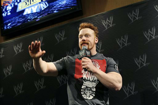 "<div class=""meta image-caption""><div class=""origin-logo origin-image ""><span></span></div><span class=""caption-text"">Stephen Farrelly, of Ireland, known as Sheamus, answers a question during a news conference before the WWE Wrestlemania 29 wrestling event, Sunday, April 7, 2013, in East Rutherford, N.J. (AP Photo/Mel Evans) (AP Photo/ Mel Evans)</span></div>"