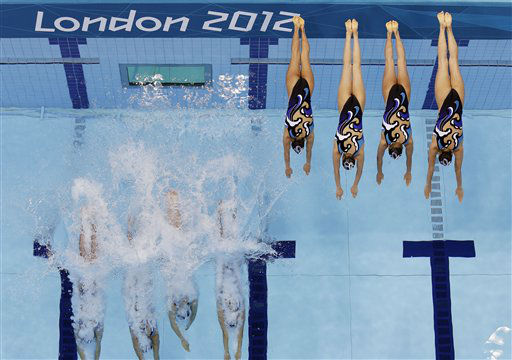 Japan&#39;s women&#39;s synchronized swimming team start their technical routine at the Aquatics Centre in the Olympic Park during the 2012 Summer Olympics in London, Thursday, Aug. 9, 2012. &#40;AP Photo&#47;Tim Donnelly&#41; <span class=meta>(AP Photo&#47; Tim Donnelly)</span>