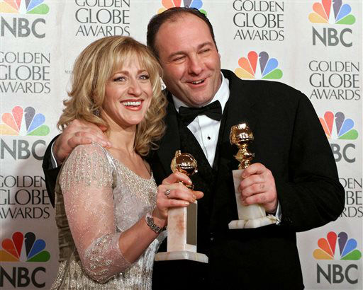 FILE - This Jan. 23, 2000 file photo shows actors Edie Falco, left, and James Gandolfini with their awards for best performance by an actress and actor in a dramatic televison series for &#34;The Sopranos,&#34; during the 57th Golden Globe Awards in Beverly Hills, Calif. HBO and the managers for Gandolfini say the actor died Wednesday, June 19, 2013, in Italy. He was 51. &#40;AP Photo&#47;Kevork Djansezian, file&#41; <span class=meta>(AP Photo&#47; KEVORK DJANSEZIAN)</span>