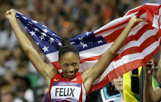 United States&#39; Allyson Felix celebrates her win in the women&#39;s 200-meter final during the athletics in the Olympic Stadium at the 2012 Summer Olympics, London, Wednesday, Aug. 8, 2012. &#40;AP Photo&#47;Lee Jin-man&#41; <span class=meta>(AP Photo&#47; Lee Jin-man)</span>