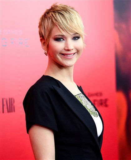 "Actress Jennifer Lawrence attends a special screening of ""The Hunger Games: Catching Fire"" at AMC Lincoln Square on Wednesday, Nov. 20, 2013 in New York. (Photo by Evan Agostini/Invision/AP)"
