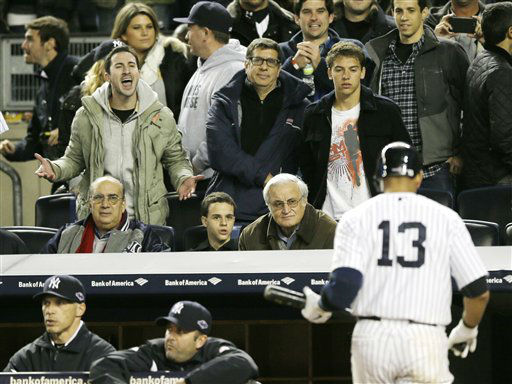 New York Yankees Alex Rodriguez is jeered by a fan after striking out in the sixth inning during Game 1 of the American League championship series against the Detroit Tigers Saturday, Oct. 13, 2012, in New York. &#40;AP Photo&#47;Matt Slocum&#41; <span class=meta>(AP Photo&#47; Matt Slocum)</span>