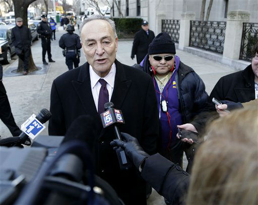 New York Senator Charles Schumer speaks to media as she arrives for the funeral of former New York City Mayor Ed Koch in New York, Monday, Feb. 4, 2013. Koch was remembered as the quintessential New Yorker during a funeral that frequently elicited laughter, recalling his famous one-liners and amusing antics in the public eye. Koch died Friday of congestive heart failure at age 88. &#40;AP Photo&#47;Seth Wenig&#41; <span class=meta>(AP Photo&#47; Seth Wenig)</span>