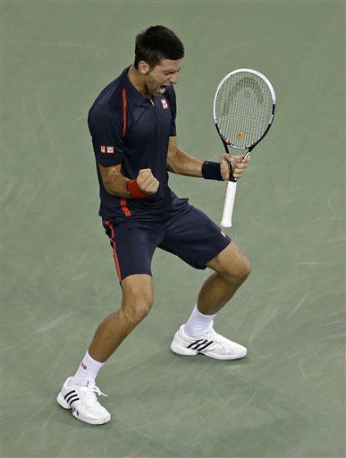 Novak Djokovic, of Serbia, reacts after winning the second set against Juan Martin del Potro, of Argentina, in a quarterfinal at the U.S. Open tennis tournament Thursday, Sept. 6, 2012, in New York. &#40;AP Photo&#47;Darron Cummings&#41; <span class=meta>(AP Photo&#47; Darron Cummings)</span>