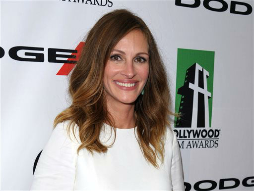 FILE - This Oct. 21, 2013 file photo shows Julia Roberts at the 17th Annual Hollywood Film Awards Gala in Beverly Hills, Calif. Roberts was nominated for a Golden Globe for best supporting actress in a motion picture for her role in ?August: Osage County&#34; on Thursday, Dec. 12, 2013.  The 71st annual Golden Globes will air on Sunday, Jan. 12. &#40;Photo by John Shearer&#47;Invision&#47;AP, File&#41; <span class=meta>(Photo&#47;John Shearer)</span>