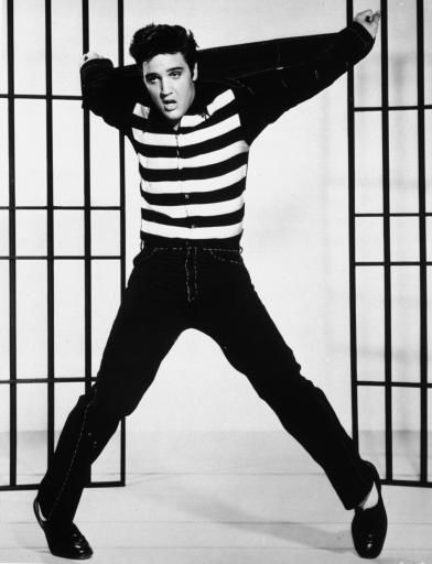 A publicity photo from the 1957 film, &#34;Jailhouse Rock&#34;, in which Elvis Presley plays a convict who becomes a rock star.  &#40;AP Photo&#41; <span class=meta>(AP Photo&#47; Anonymous)</span>