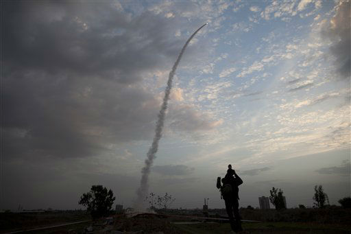 An Iron Dome missile is launched in Tel Aviv, to intercept a rocket fired from Gaza, Saturday, Nov. 17, 2012. Israel bombarded the Hamas-ruled Gaza Strip with nearly 200 airstrikes early Saturday, the military said, widening a blistering assault on Gaza rocket operations to include the prime minister&#39;s headquarters, a police compound and a vast network of smuggling tunnels. &#40;AP Photo&#47;Oded Balilty&#41; <span class=meta>(AP Photo&#47; Oded Balilty)</span>