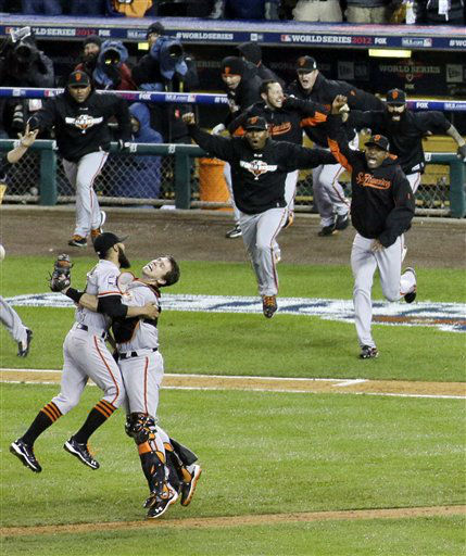 San Francisco Giants celebrate after the Giants defeated the Detroit Tigers, 4-3, in Game 4 of baseball&#39;s World Series  Sunday, Oct. 28, 2012, in Detroit. The Giants won the World  Series 4-0.  &#40;AP Photo&#47;Patrick Semansky&#41; <span class=meta>(AP Photo&#47; Patrick Semansky)</span>
