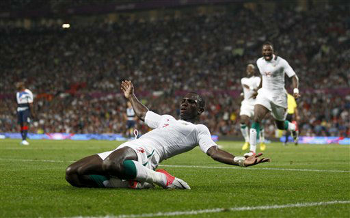 Senegal&#39;s Moussa Konate celebrates after scoring against Britain during their group A men&#39;s soccer match at the London 2012 Summer Olympics, Thursday, July 26, 2012, at Old Trafford Stadium in Manchester, England. &#40;AP Photo&#47;Jon Super&#41; <span class=meta>(AP Photo&#47; Jon Super)</span>