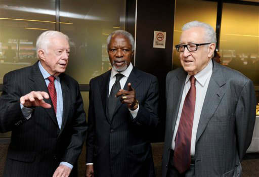 "<div class=""meta ""><span class=""caption-text "">Former U S president Jimmy Carter, former general secretary of the United Nations, Kofi Annan, and United Nations and Arab League Special Envoy to Syria, Lakhdar Brahimi arrive at the memorial service for former South African president Nelson Mandela, on the edge of Soweto, Johannesburg Tuesday, Dec 10, 2013.</span></div>"