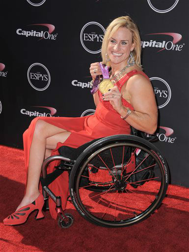 Paralympist Muffy Davis arrives at the ESPY Awards on Wednesday, July 17, 2013, at Nokia Theater in Los Angeles. &#40;Photo by Jordan Strauss&#47;Invision&#47;AP&#41; <span class=meta>(Photo&#47;Jordan Strauss)</span>