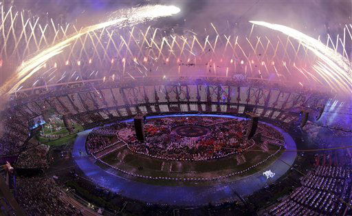 "<div class=""meta ""><span class=""caption-text "">Fireworks explode over the stadium at the end of the Opening Ceremony of the 2012 Olympic Summer Games at the Olympic Stadium in London, Saturday, July 28, 2012. (AP Photo/ Ezra Shaw, Pool) (AP Photo/ Ezra Shaw)</span></div>"