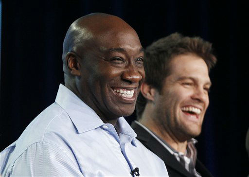 Cast members Michael Clarke Duncan, left, and Geoff Stults participate in the panel discussion for the Fox television show &#34;The Finder&#34; at the Fox Broadcasting Company Television Critics Association Winter Press Tour in Pasadena , Calif. on Sunday, Jan. 8, 2012. Duncan has died at the age of 54 on Monday, Sept. 3, 2012 in a Los Angeles Hospital after nearly two months of treatment following a July 13, 2012 heart attack, his fiancee, the Rev. Omarosa Manigault, said. &#40;AP Photo&#47;Danny Moloshok&#41; <span class=meta>(AP Photo&#47; Danny Moloshok)</span>