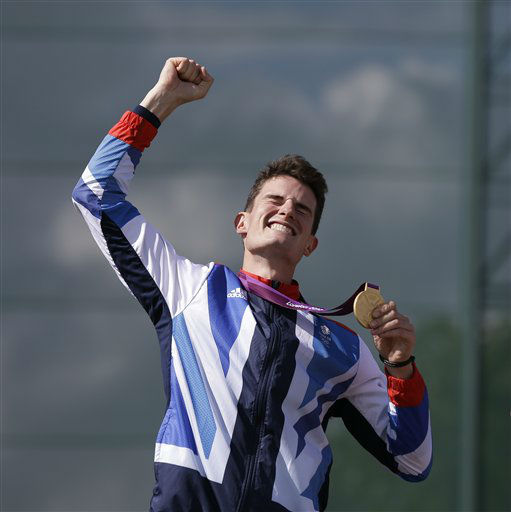 Great Britain&#39;s Peter Wilson reacts after receiving the gold medal for men&#39;s double trap event, at the 2012 Summer Olympics, Thursday, Aug. 2, 2012, in London. &#40;AP Photo&#47;Rebecca Blackwell&#41; <span class=meta>(AP Photo&#47; Rebecca Blackwell)</span>