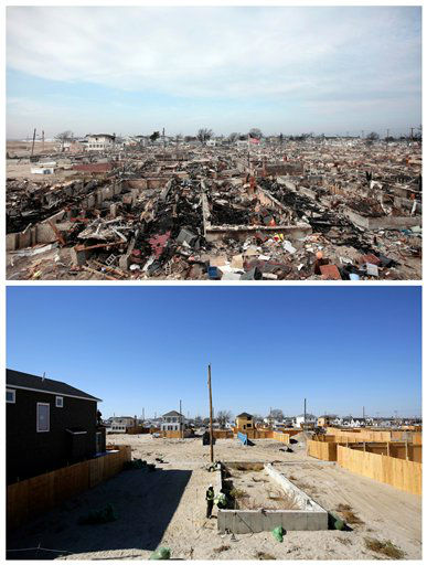 This combination of photos from Dec. 4, 2012 and Oct. 21, 2013 show the ruins of more than 100 homes in the Breezy Point section of the Queens borough of New York following Superstorm Sandy and new construction to replace them. (AP Photo/Mark Lennihan)