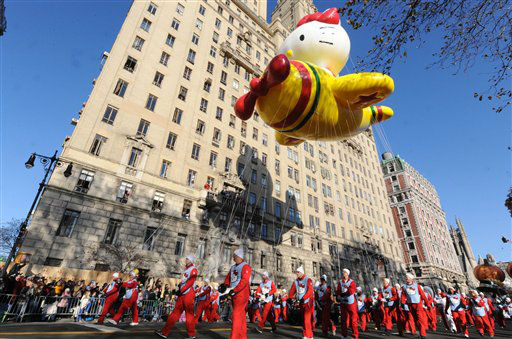 The Hello Kitty Balloon makes it&#39;s way down New York&#39;s Central Park West in the 86th annual Macy&#39;s Thanksgiving Day Parade,Thursday, Nov 22, 2012. &#40;AP Photo&#47; Louis Lanzano&#41; <span class=meta>(AP Photo&#47; Louis Lanzano)</span>