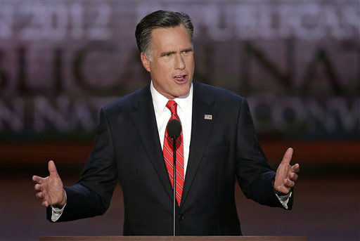 "<div class=""meta ""><span class=""caption-text "">Republican presidential nominee Mitt Romney addresses the Republican National Convention in Tampa, Fla., on Thursday, Aug. 30, 2012. (AP Photo/J. Scott Applewhite) (AP Photo/ J. Scott Applewhite)</span></div>"