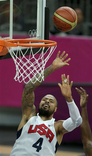 United States&#39; Tyson Chandler puts up a shot during a men&#39;s basketball game against Nigeria at the 2012 Summer Olympics, Thursday, Aug. 2, 2012, in London. &#40;AP Photo&#47;Charlie Riedel&#41; <span class=meta>(AP Photo&#47; Charlie Riedel)</span>