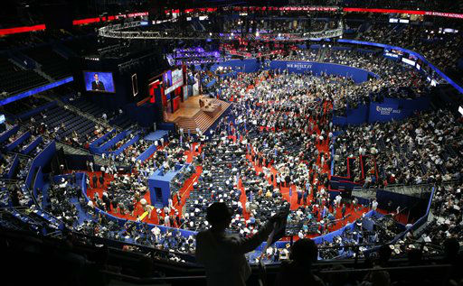 Delegates gather in the Tampa Bay Times Forum during the Republican National Convention in Tampa, Fla., on Tuesday, Aug. 28, 2012. &#40;AP Photo&#47;Jae C. Hong&#41; <span class=meta>(AP Photo&#47; Jae C. Hong)</span>